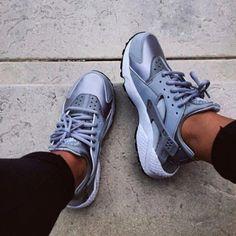 Shoes: nike air huarache huarache sneakers nike metallic nike new nikes fashion grey grey grey gray