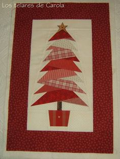 I adore this!  Would have never thought to do it in red. Christmas Tree Quilt, Noel Christmas, Christmas Quilting, Christmas Runner, Xmas Tree, Cute Christmas Tree, Christmas Patchwork, Country Christmas, Christmas Sewing