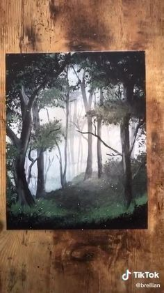 Easy Canvas Art, Small Canvas Art, Multiple Canvas Paintings, 3 Canvas Paintings, Multi Canvas Painting, Canvas Painting Tutorials, Painting Videos, Forest Painting, Painting Trees