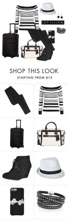 """Airport Style"" by lwilkinson ❤ liked on Polyvore featuring Victorinox Swiss Army, Coach, Merona, Sif Jakobs Jewellery, Kobelli and celebairportstyle"
