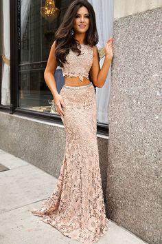 2 Pieces Lace Appliques Prom Dress
