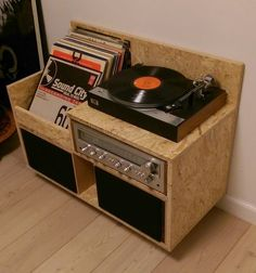 Cute little record player stand with speakers