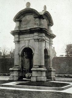 This is the original monument at Plymouth Rock. This picture is linked to the Mayflower Compact page on bingoforpatriots.com