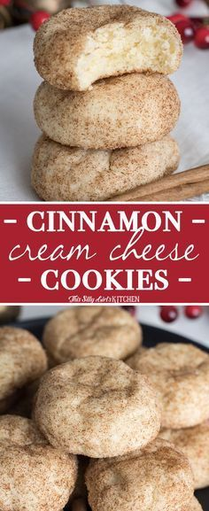 SO easy and yummy - Cinnamon Cream Cheese Cookies, an easy, tender cookie bursting with cinnamon sugar. The perfect #ChristmasCookie ! #Recipe from ThisSillyGirlsKitchen.com #cookie #creamcheese #cinnamon #creamcheesecookie