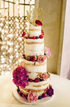 floral naked wedding cake; via Sweet Art Bake Shop