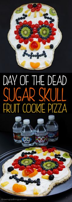 Healthy Day Of The Dead Sugar Skull Fruit Pizza. This is so easy to make and I love that it includes a recipe for skinny sugar cookie dough and yogurt based cream cheese frosting. The perfect healthy Halloween treat! #NestleShareAScare #ad