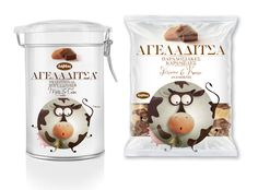 Ageladitsa* (*little cow) candies packaging.  Design by mousegraphics