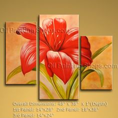 "Beautiful Tri-Panel Wall Art For Interior Design Contemporary Flower 48"" x 38"" #2b43"