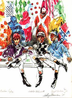 Leroy Neiman Book Plate Print Jockeys Lopez Belmonte Cordero Horse Racing 1971 | eBay