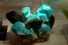Microcline v. amazonite with smoky quartz