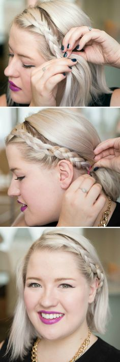 Try a braided headband. #shorthair #hairtips