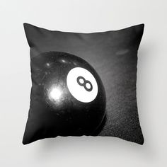 Black Pillow Cover, Black and White Pillow Cover, Eight Ball Pool Table Pillowcase, Night Photography, B&W Pool Table, Snooker - pinned by pin4etsy.com