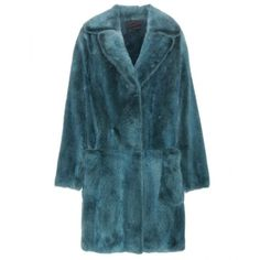 Marc Jacobs Mink Fur Coat ($14,235) ❤ liked on Polyvore featuring outerwear, coats, blue, marc jacobs, teal coat, mink coat, marc jacobs coats and blue coat