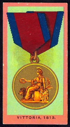 """Wills's Cigarettes """"Medals"""" issued in Vittoria (Napoleonic Wars) gold medal issued to officers British Medals, Cigarette Box, Napoleonic Wars, Soldiers, Britain, Awards, Decorations, Baseball Cards, Painting"""