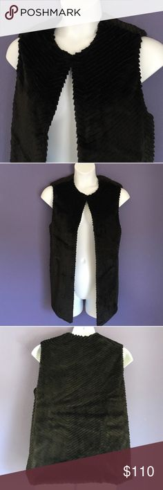 """🆕 Talbots Black Textured Vest Wow!   This vest is absolutely beautiful.  It is soft and has a """"fuzzy"""" feel.  You will look amazing and make a statement at the same time!   Perfect for all holiday parties. Pair with dress pants, skirt, or over a dress. Clasp at the front top - can wear open or closed(as shown). Material: 100% Polyester. Measurements:  Length - 29""""/Bust - 23""""/Waist - 25"""" Talbots Jackets & Coats Vests"""