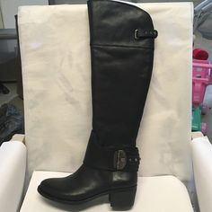 Brand new Vince Camuto black leather boots Brand new in box, leather knee high boots Vince Camuto Shoes Heeled Boots