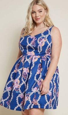 dbe72983fc8 Blue Fit and Flare Plus Size Dress in Floral Helix - This blue fit and flare
