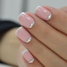 Pink French manicure with gems