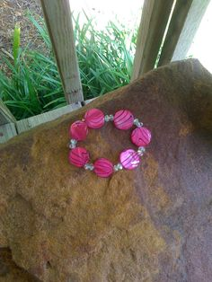 Hot Pink Mother Of Pearl And Crystal by BrightStarrCreations, $16.00