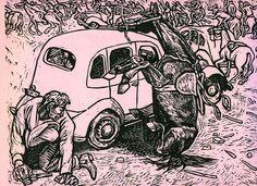 """Murales de la Revolución Mexicana - Alfredo Zalce- CHOFERES CONTRA """"CAMISAS DORADAS"""" EN EL ZOCALO DE LA CIUDAD DE MEXICO. 20 DE NOVIEMBRE DE 1935"""