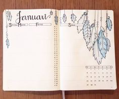 Feather cover page monthly spread bullet journal