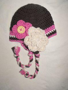 baby girl hat, crochet baby hat, Crochet earflap hat, baby hat, crochet kids hat. $20.00, via Etsy.