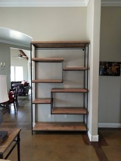 Learn more about Steel and Solid Wood Shelving : James+James: Custom Steel and Wood Shelving Unit at approx. L x D x H with Knotty Alder Shelves in Harvest Wheat Finish. Steel Shelving, Shelves, Wood Shelving Units, Steel Furniture, Wood Shelves, Shelving, Diy Kitchen Budget, Shelving Design, Metal Furniture