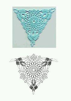 Crochet Triangle Motif and Scheme - Hakeln Crochet Diy, Mode Crochet, Crochet Doily Patterns, Crochet Diagram, Crochet Chart, Thread Crochet, Irish Crochet, Crochet Doilies, Crochet Flowers