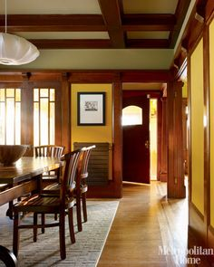 Craftsman dining room. Arts and Crafts Period - included Craftsman Style, Prairie/Mission Style, Art Nouveau Style. Do your research to do this style well as it holds much integrity overall.