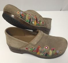 Dansko Clogs 41 US 10 Suede Earthybuck Floral Leather Women's Tan Shoes Pro #DanskoProfessional #WorkClog