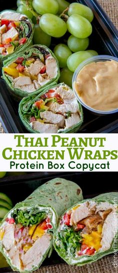 Thai Peanut Chicken Wraps with spicy peanut dipping sauce, ginger cream cheese and veggies just like your favorite protein box from Starbucks.