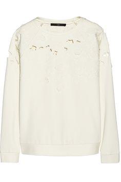 Tibi | Floral-appliquéd cutout stretch-jersey sweatshirt | NET-A-PORTER.COM