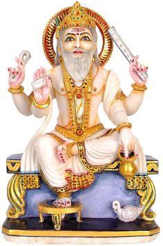 Marble Statue of Vishwakarma Ji, Hindu White Marble Statue Lord Murugan Wallpapers, Lord Krishna Wallpapers, Vishwakarma Puja, All God Images, Happy Independence Day Images, Indian Literature, Rama Image, Lakshmi Images, Lord Shiva Family