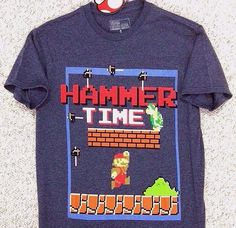 "$20 Funny Super Mario Bros ""HAMMER TIME"" T-SHIRT Nintendo NES MC Video Game BLUE #SuperMarioBros #GraphicTee"