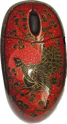 computer accessories, mouses, keyboards etc decorated in Russian style.