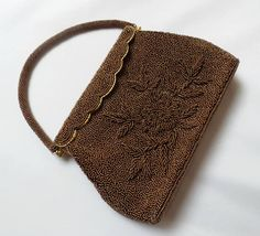 Vintage Beaded Evening Purse/Handbag from Hong Kong Bronze