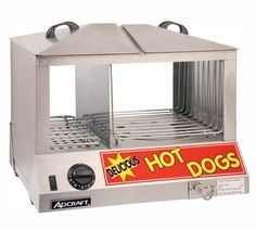 Adcraft Countertop Stainless Steel Hot Dog Steamer, 6 Quart — 1 each.  http://www.cheapindustrial.com/adcraft-countertop-stainless-steel-hot-dog-steamer-6-quart-1-each/
