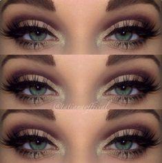 make-up pretty eyes eye makeup eyeliner eye shadow eyelashes cute purple green glitter sparkle eyebrows