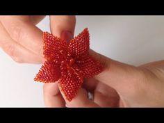 Цветок для резиночки или брошь. Beaded brooch. Часть 2/2