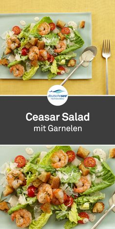 Caesar salad with shrimpsIt comes as called: Caesar with # shrimps. There is nothing better than a fresh salad. Fresco, Greek Diet, Shrimp Salad, Seafood Salad, Nutrition, Caesar Salad, Greek Recipes, Tortellini, Macaroni