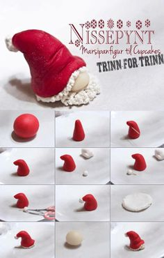 épinglé par ❃❀CM❁✿Fondant Tutorial by Nissepynt - Santa Hat Gnome - pere noel fimo Polymer Clay Ornaments, Polymer Clay Canes, Fimo Clay, Polymer Clay Projects, Polymer Clay Creations, Clay Crafts, Polymer Clay Tutorials, Polymer Clay Christmas, Fondant Tutorial