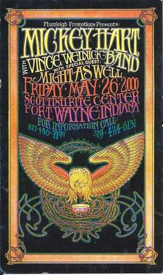 Handbill   Mickey Hart  with Vince Welnick Band  2000    Ft. Wayne, Indiana