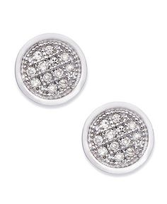 10k White Gold Earrings Diamond Accent Circle Stud Macys Jewelry