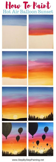 How To Paint A Sunset In Acrylics - Hot Air Balloon Silhouette Learn how to paint an easy sunset painting and hot air baloon silhouettes with acrylics. This tutorial will guide you through the steps! Easy Canvas Art, Easy Canvas Painting, Simple Acrylic Paintings, Acrylic Painting Tutorials, Easy Paintings, Decorative Paintings, Painting Art, Acrylic Sky Painting, Oil Paintings