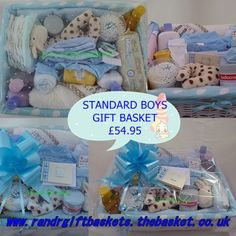 Standard basket available in boys, girls or neutral www.randrgiftbaskets.thebasket.co.uk Cost included mainland UK (EX Scottish Highlands) 2-3 day courier delivery contact us for other areas and countries