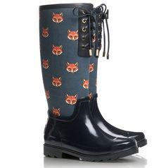 LOVELY fox print rain boots. gimmie gimmie.