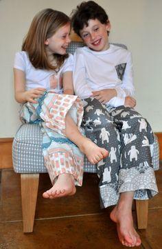 Cozy kids in Pajama Pants featuring Fair Isle fabrics from Hawthorne Threads