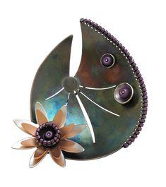 Fancy Lotus Pin / Pendant: Chihiro Makio: Silver & Glass Pin / Pendant | Artful Home