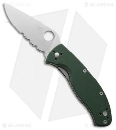 "Spyderco Tenacious Folding Knife Green G-10 (3.375"" Satin Serr) C122GPSGR $41.95"