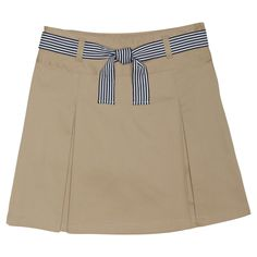Girls' French Toast Woven Belted Two Pleat Scooter - Khaki (Green) 14, Girl's, Size: 16